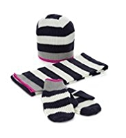Striped Hat, Scarf & Gloves Set