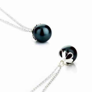 Sterling Silver Necklace With 11mm 'Tahitian' Style Pearl