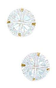 14k Yellow Gold 8mm 4 Segment Round CZ Light Prong Set Earrings - JewelryWeb