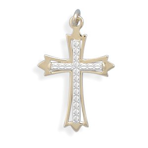 Cross Pendant Two Tone 18K Gold over Sterling Silver - Made in the USA