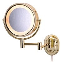 Jerdon HL65G 5X Lighted Wall Mount Magnifying Mirror