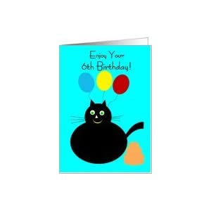 Amazon.com: 6 Year Old Birthday Card - Cat And Balloons