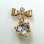 Jewelry Nail プリティネイル チャーミングリボンー2 ハートストーン ゴールド PNー0305G
