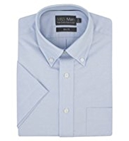 Pure Cotton Quick Iron Short Sleeve Slim Fit Oxford Shirt