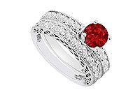 14K White Gold Ruby and Diamond Engagement Ring with Wedding Band Set 1.50 CT TGW MADE IN USA