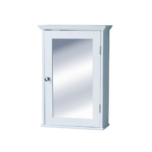 White wood with Glass Mirror Door and Chrome Handle.