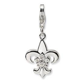 Sterling Silver CZ Polished Fleur de lis Clip On Charm with Lobster Clasp in Gift Box