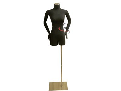 (JF-F02Sarm+BS-05) Display Female Body Form Black jersey form with flexible arms & metal base