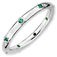 0.12ct Very Versatile Silver Stackable Emerald Ring. Sizes 5-10 Available