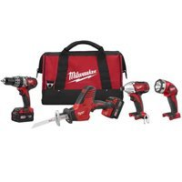 Milwaukee 2695-24 M18 Cordless Combo Compact Hammer Drill/Hackzall/1/4 Hex Impact Driver/Work Light/Charger/2 Battery