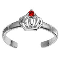 Sterling Silver Fashion Toe Ring - Crown with Ruby CZ - 2mm Band Width