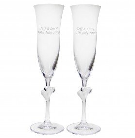 Personalised Heart Stem Champagne Celebration Flutes
