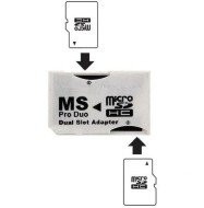 PhotoFast MicroSDHC to MS PRO DUO Adapter. Converts Two MicroSD or MicroSDHC Cards To MS PRO DUO