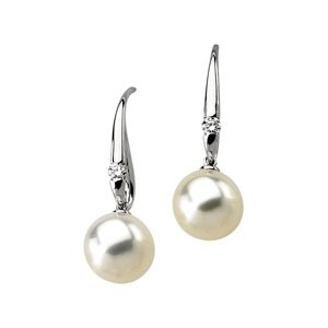 14k Wht Gold S. Sea Cult. Pearl Rough Diamond Earring 11.5mm 1/4ct - JewelryWeb
