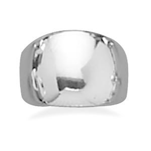 Sterling Silver Polished Domed Cigar Band Ring / Size 8