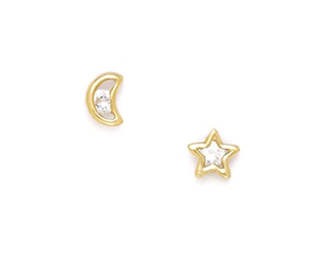 14K Yellow star and moon Earring