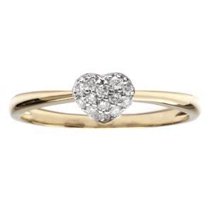 1/10 Carat Diamond 14k Yellow Gold Heart Promise Ring
