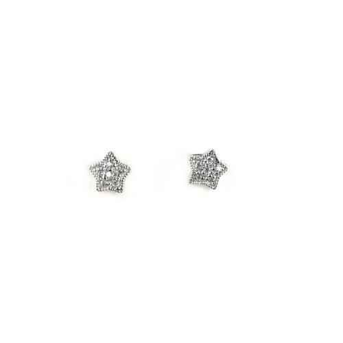 Sterling Silver & CZ Star Post Earrings