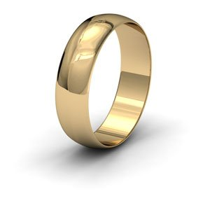9ct Yellow Gold, 6mm Wide, 'D' Shape Wedding Ring