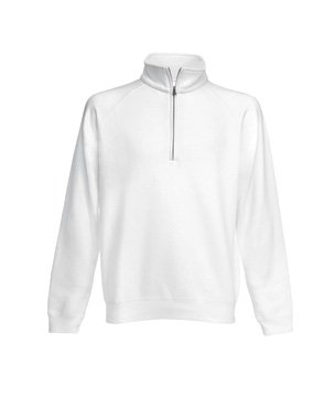 Mens Fruit Of The Loom Zip Neck Sweatshirt-White-Small-FREE SHIPPING