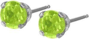 0.22Ct. Genuine 3mm Peridot 14 Karat White Gold Round Earrings