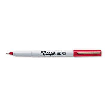 Permanent Markers, Ultra Fine Point, Red, Dozen kitsan33074unv92009 value kit sharpie super permanent markers san33074 and universal economy scissors unv92009