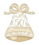 "Anagram International 50th Anniversary Bell Shape Balloon, 27"", Gold"