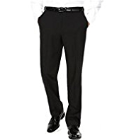 Big & Tall Supercrease® Active Waistband Flat Front Trousers with Wool