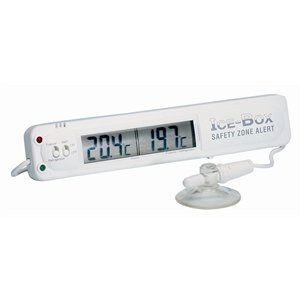 Fridge Freezer Thermometer Features Alarm And Dual Sensors For Fridge And Room Temperatures.