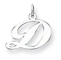 Sterling Silver Medium Fancy Script Initial D Charm - JewelryWeb