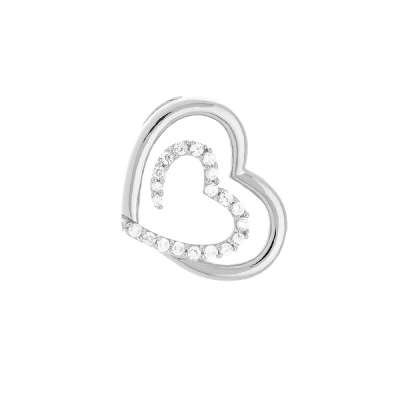 New Charm Necklace Jewelry 925 Sterling Silver Heart Pendant With Beautiful Cut Inner Heart and Clear CZ Design(WoW !With Purchase Over $50 Receive A Marcrame Bracelet Free)