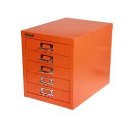 bisley desktop cabinet 5 drawer h325xw279xd380mm steel