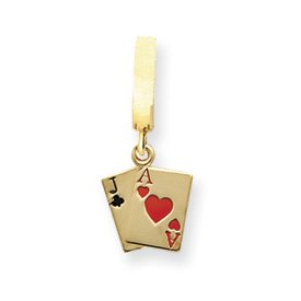 14K Solid Enamel Textured Back Blackjack T-Toy Belly Ring - JewelryWeb