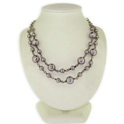LovingtheBead © 'Sterling Silver' Simulated Pearl Necklace With Cz Clasp