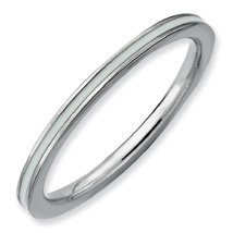 The Purity of Silver Stackable White Enamel Ring. Sizes 5-10 Available