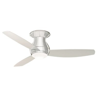 """Emerson Cf152Bs 52"""" Curva Sky Flush Mount Ceiling Fan - Blades, Light Kit And Re, Brushed Steel front-621084"""