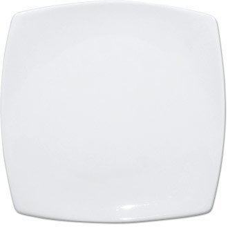 White Rounded Square Plates Crockery Dinner Set - 30.5cm 12