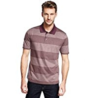 Pure Cotton Mercerised Multi-Striped Polo Shirt