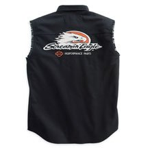 Buy Harley Davidson Mens Screamin' Eagle Blowout Shirt, 100% cotton, button front shirt has Harley-Davidson Racing patch, Screamin' Eagle graphics and two buttoned chest pockets. Choose Black or White, 98284-07VM, 98283-07VM