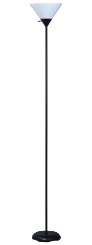 Park Madison Lighting PMF-3127-31 Contemporary Design 72-Inch High 150-Watt Incandescent Torchiere Floor Lamp, Black Finish with White Shade