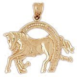 CleverEve 14K Gold Pendant Horseshoes 3.3 Grams