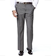 Big & Tall Active Waistband Supercrease® Flat Front Trousers with Wool