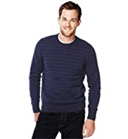 XS Blue Harbour Pure Cotton Crew Neck Striped Jumper