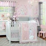 Lambs & Ivy Swan Lake Bedding Set, Pink/White/Grey