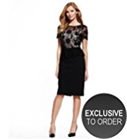 M&S Collection Embroidered Floral Lace Bodice Peplum Dress