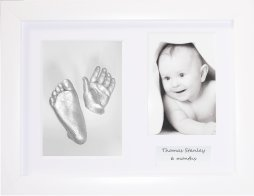 Baby Casting Kit / White Frame, 3 Aperture / Silver Hand & Foot Casts