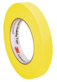 3M 06652 Automotive Refinish Masking Tape, 250 Degree F Performance Temperature, 28 Lbs\In Tensile Strength, 55M Length X 18Mm Width, Yellow (Case Of 12 Rolls)