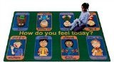 "Joy Carpets Kid Essentials Music & Special Needs Signs of Emotions Rug, Multicolored, 5'4"" x 7'8"""