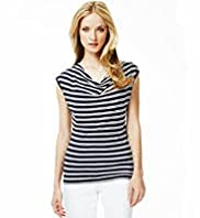 Autograph Cowl Neck Double Striped Drape Top with Linen