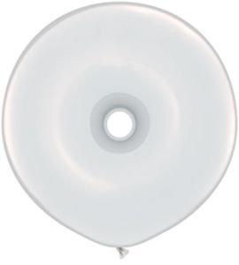"""Qualatex 16"""" Geo Donut Latex Balloons, White - Pack Of 5"""
